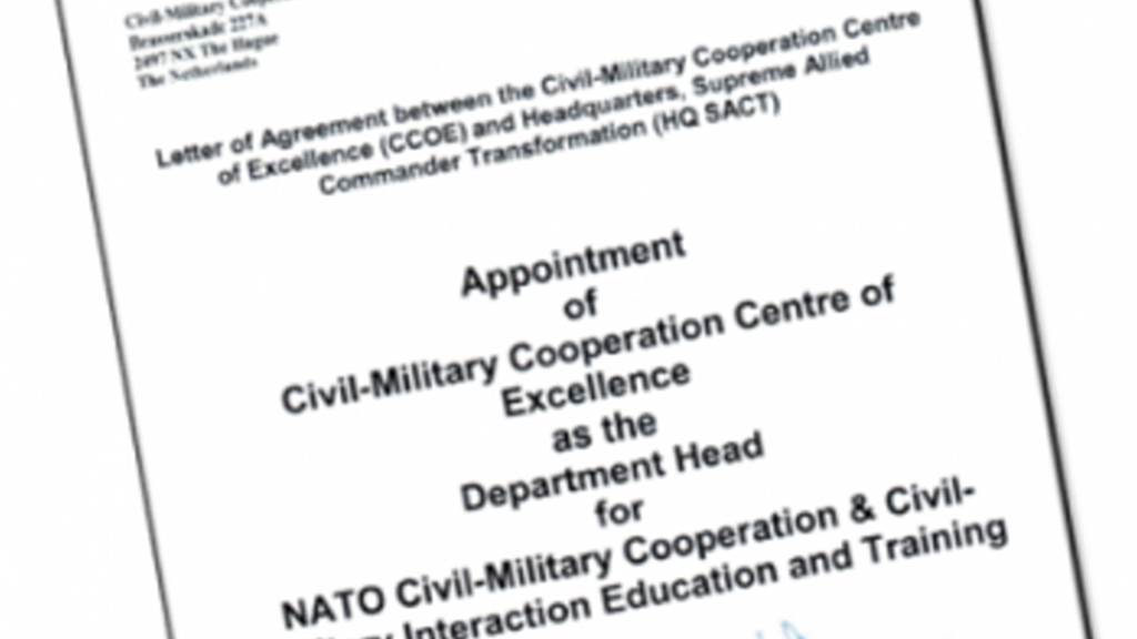 "CCOE officially appointed as NATO Department Head for CIMIC and CMI – ""Giving Excellence a face."""