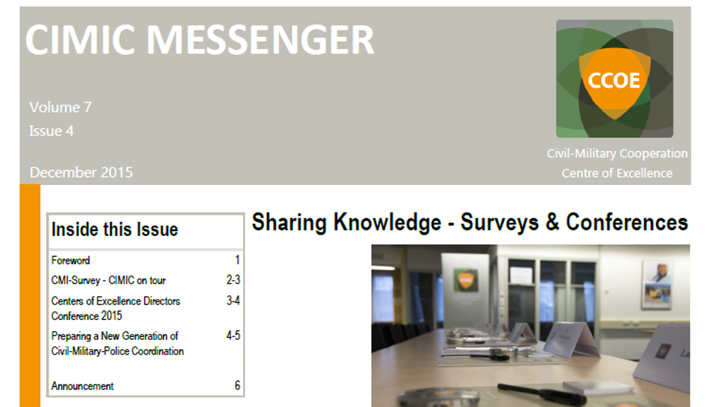 Sharing Knowledge – Surveys & Conferences – 4th CIMIC Messenger in 2015